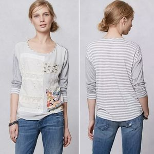 Anthropologie Patched Embroidery Pullover Top